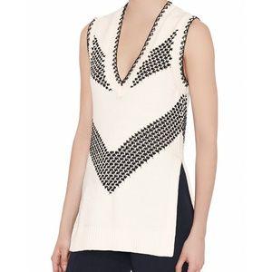 Thakoon White & Black Chevron Tunic Sweater Vest